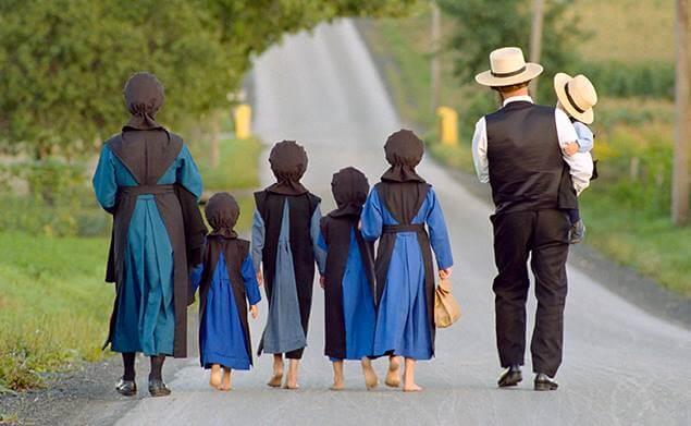 семейство амиш на прогулке