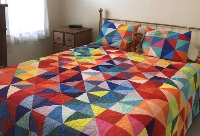 пэчворк для начинающих, одеяло из треугольников