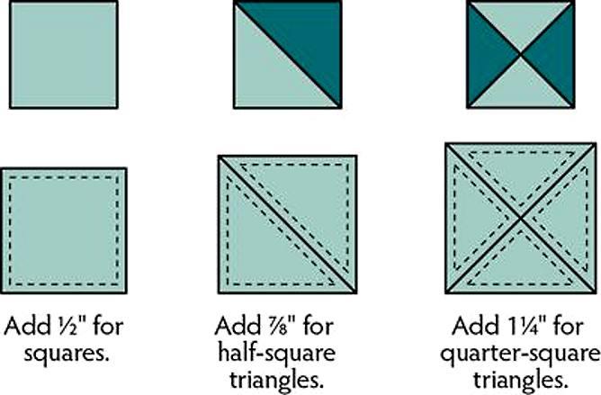 квадраты из треугольников в дюймах