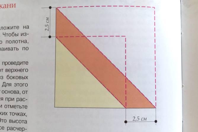 схема кроя из 2 треугольников