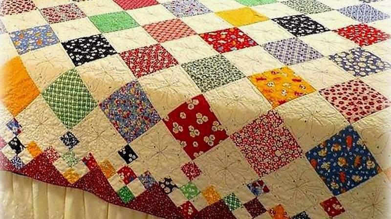пэчворк-квадраты в готовом одеяле