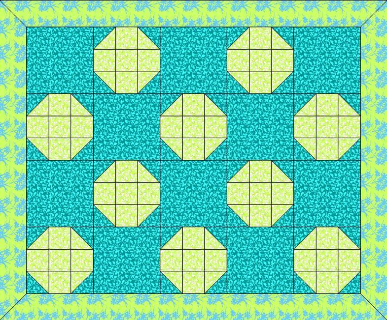 блоки Снежок соднотонными квадратами