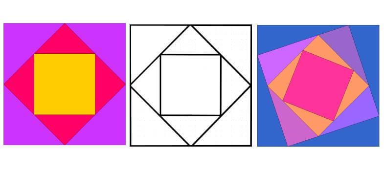 лоскутные схемы: блоки с сеткой квадрат в квадрате