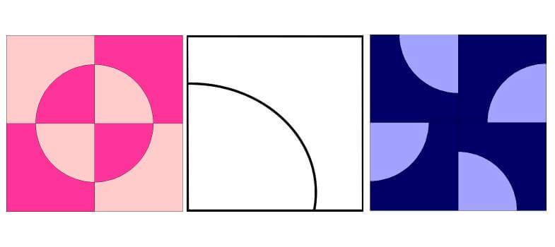 блоки с сеткой четверть круга