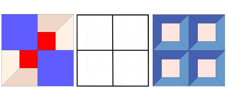 лоскутные схемы: блоки с сеткой 2 на 2 квадрата