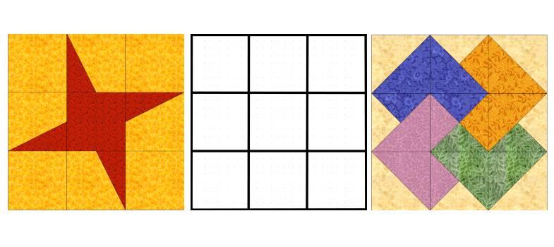блоки с сеткой 3 на 3 квадрата