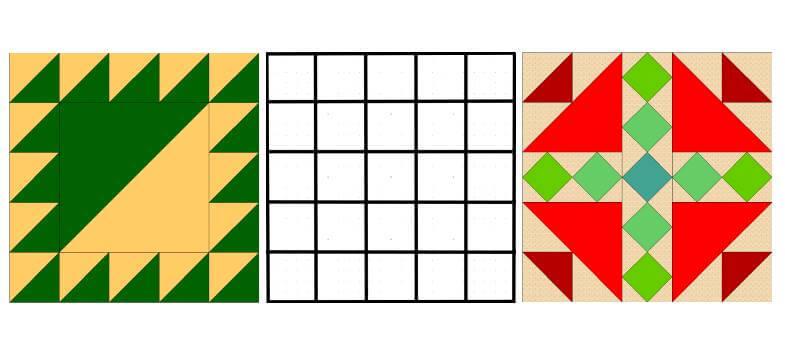 блоки с сеткой 5 на 5 квадратов