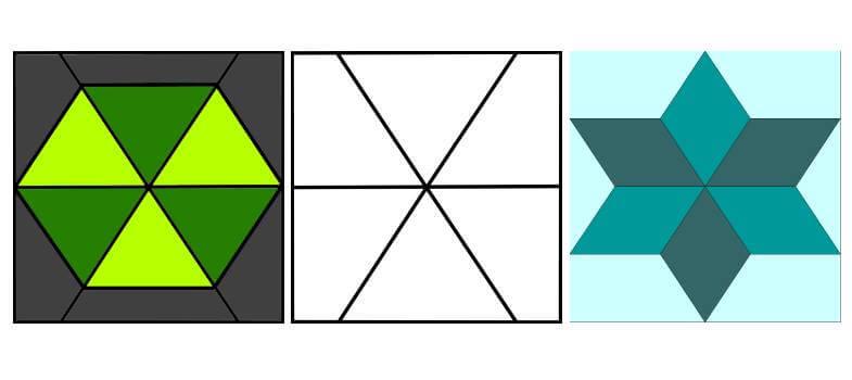 лоскутные схемы: блоки с сеткой 6 секторов