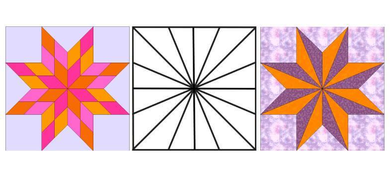 лоскутные схемы: блоки с сеткой для восьмиконечных звезд