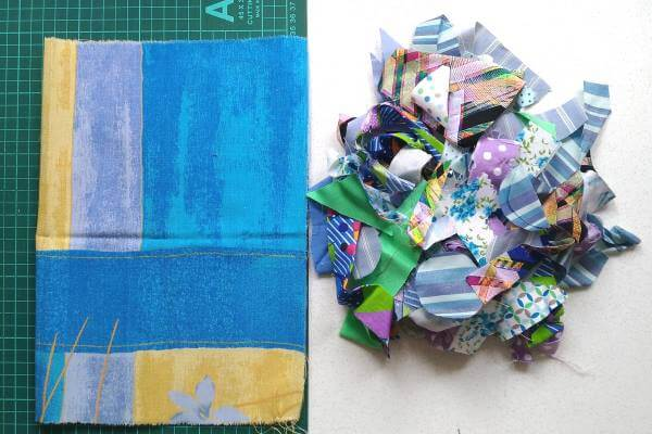 обрезки ткани в синей гамме
