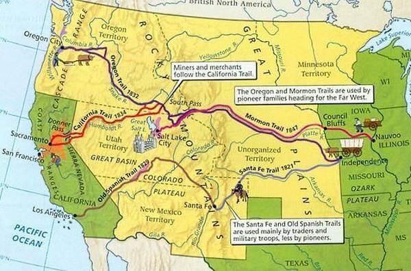 американские пионеры: карта троп и маршрутов